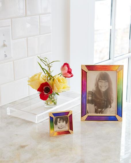 "Rainbow Pave Corner Square Frame, 2""Sq."