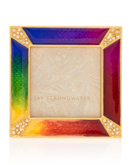 Jay Strongwater Rainbow Pave Corner Square Frame, 2