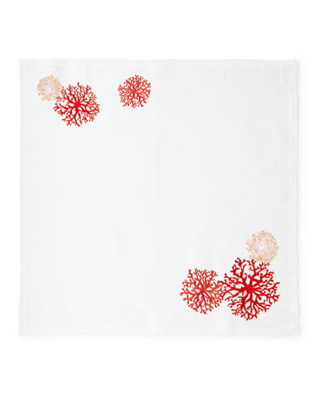 Coral Embroidered Napkin