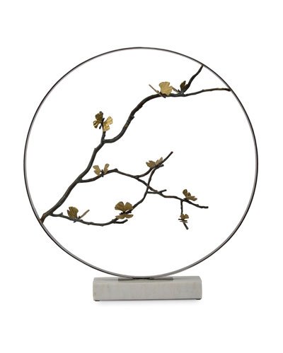 Butterfly Gingko Round Sculpture