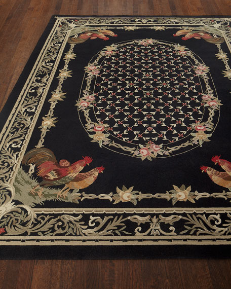 NourCouture Bijou Rooster Hand-Hooked Rug, 8.6' x 11.6'