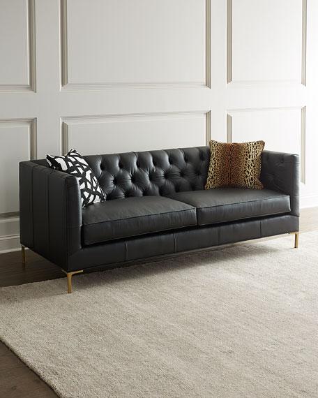 Ellyson Leather Tufted Sofa, 84