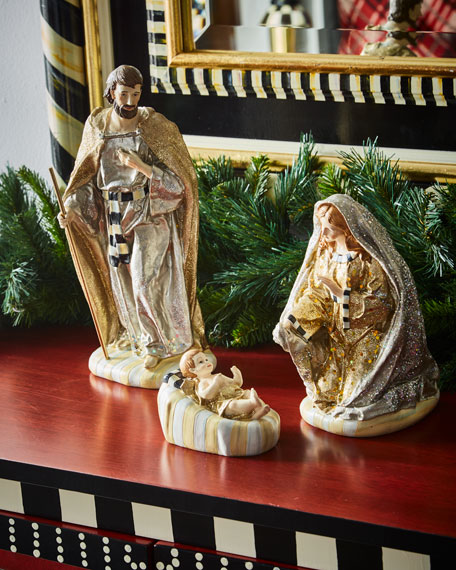 MacKenzie-Childs Silver Lining Holy Family Nativity Figurines,