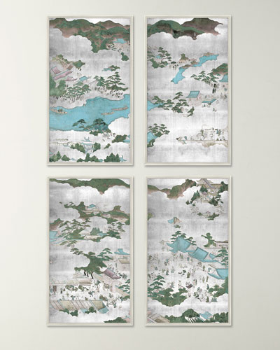 Kyoto Screen Giclee Art Canvases  Set of 4