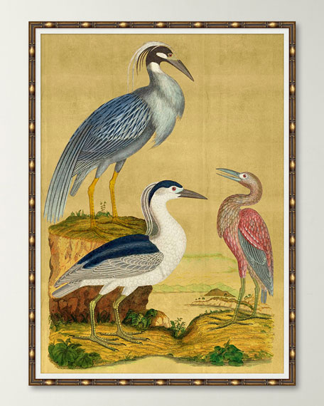 """Majestic Cranes on Gold I"" Giclee Art"