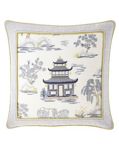 "Shang Pagoda Pillow, 22""Sq."