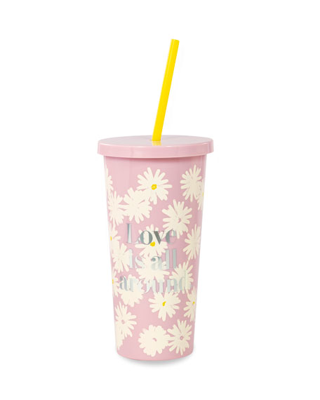love is all around tumbler with straw