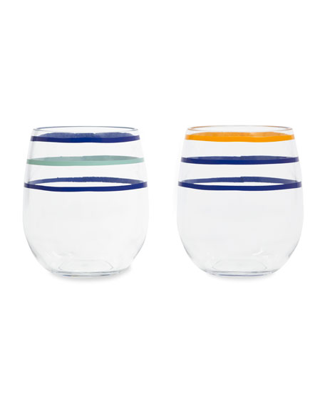 citrus twist acrylic stemless wine glasses, set of 2