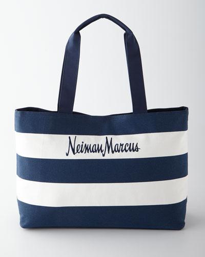Neiman Marcus Cotton Canvas Beach Tote Bag