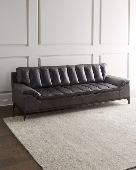 Kane Channel Tufted Leather Sofa
