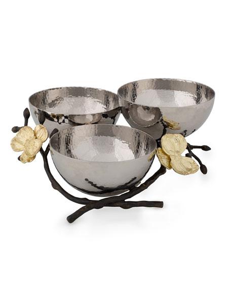 Michael Aram Gold Orchid Triple Nut Dish