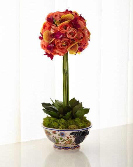 John-Richard Collection Mango Orchid Topiary