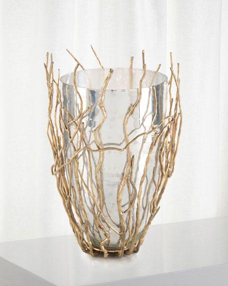 Sapling Encased Silvered Glass Vase