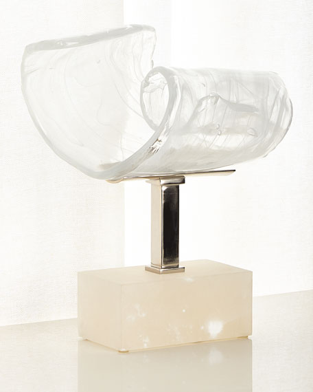 John-Richard Collection Horizontal Clear White Glass Sculpture