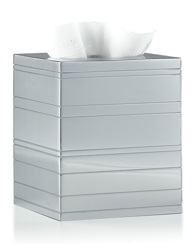 Rings Polished Chrome Tissue Box Cover