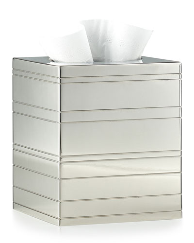 Rings Polished Nickel Tissue Box Cover