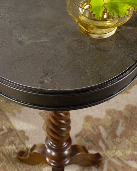 Rustic Candlestick Pedestal Accent Table