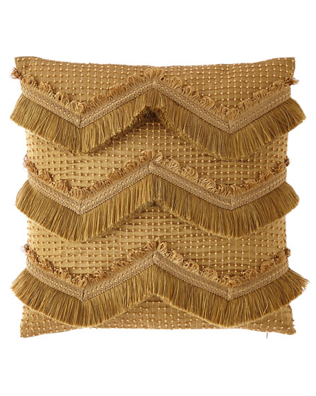 Silk Chevron Beaded Pillow