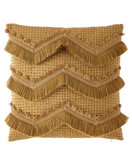 Dian Austin Couture Home Silk Chevron Beaded Pillow