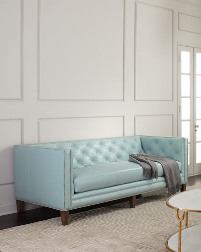Lorraine Tufted Leather Sofa