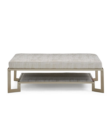 Antiqued Silver Metal Ottoman