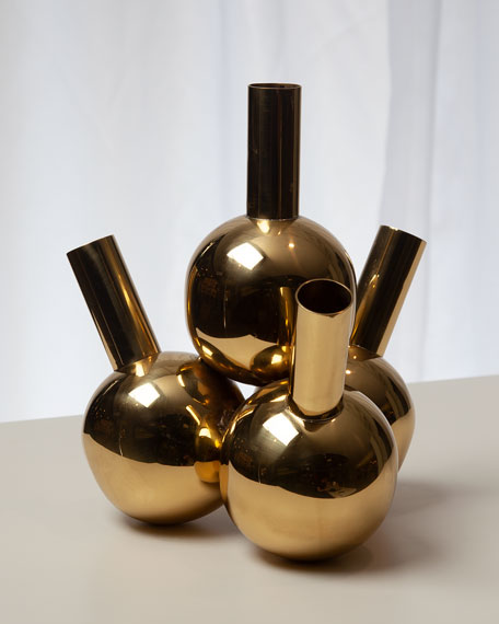 Global Views Four Bottle Brass Vase