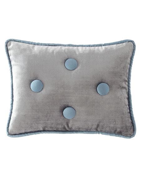 Sevilla Square Velvet Pillow with Button Trim