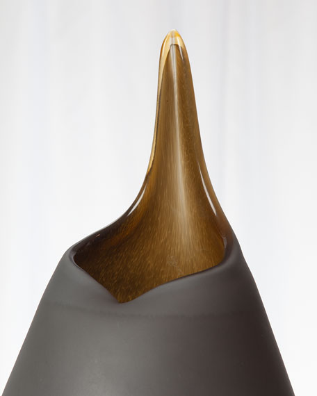 Large Frosted Vase with Amber Casing