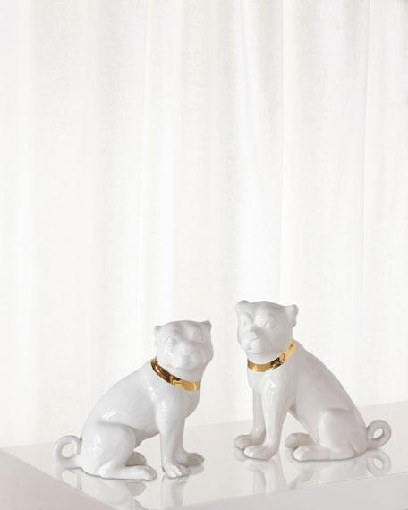 Cecil Cream Pug Statues, Set of 2