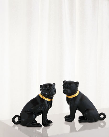 Cecil Black Pug Statues, Set of 2