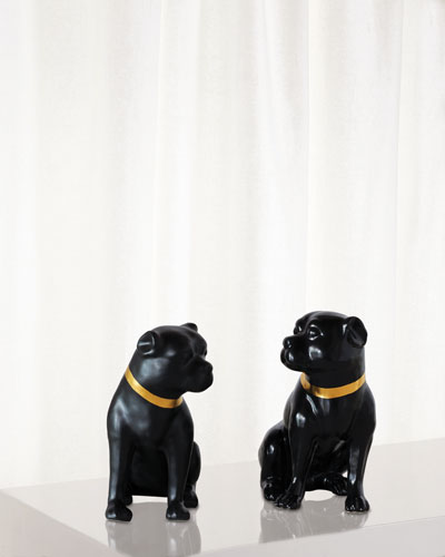 Cecil Black Pug Statues  Set of 2