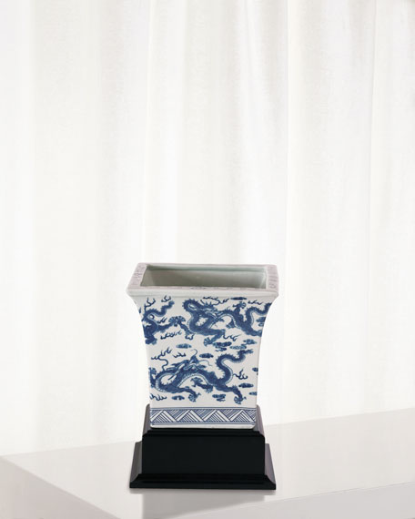 Dragon Blue Square Planter with Stand