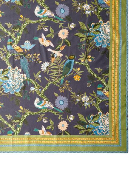 "Bird Graphite Tablecloth, 72"" x 108"""