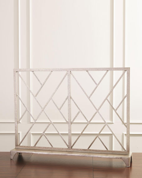 Chinoise Fret Nickel Fireplace Screen