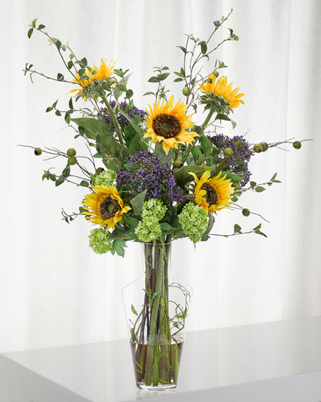 Sunflower Hydrangea Arrangement in Glass Vase