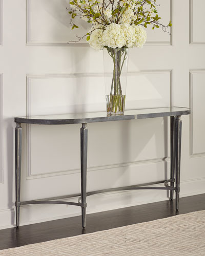 Sahara Antiqued Mirror Console Table