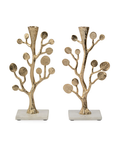 Botanical Leaf Gold Candleholders