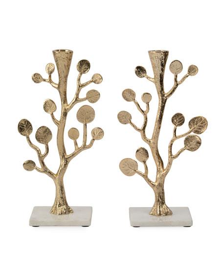 Botanical Leaf Gold Candleholders