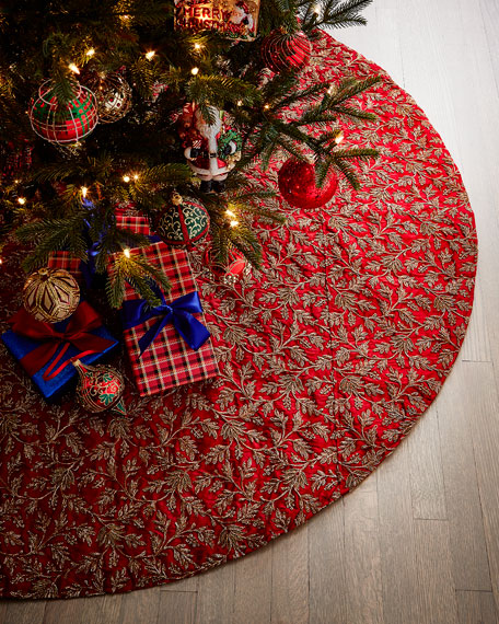 D. Stevens Floral Metallic Taffeta Tree Skirt