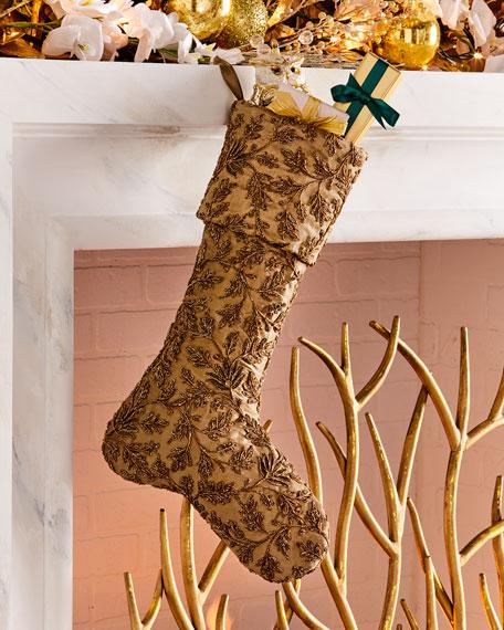 Taffeta Metallic Embroidered Floral Stocking