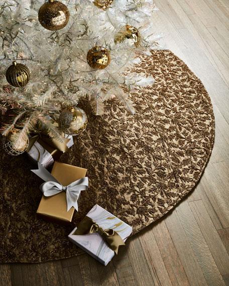 Taffeta Metallic Embroidered Floral Tree Skirt