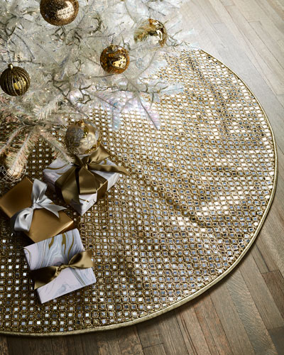 Faux Metallic Mirror Jeweled Tree Skirt