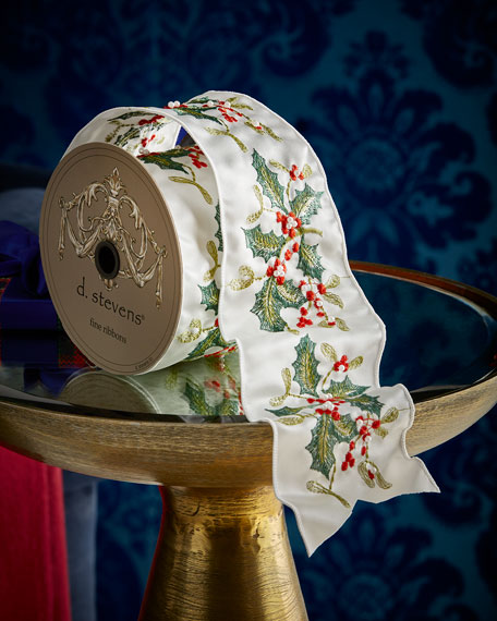Ivory Ribbon with Seasonal Holly