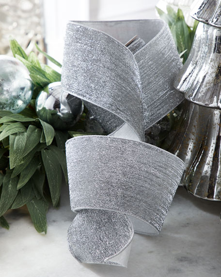 Silver Metallic Ribbon with Velvet Back