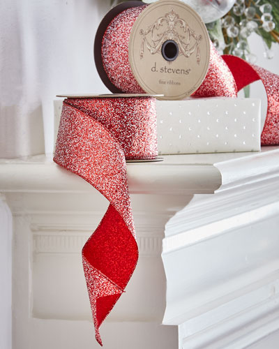 Metallic Ribbon with Red and White Glitter