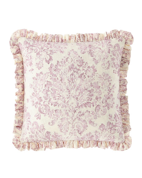 Iris Damask Boutique Pillow with Ruffle Edge