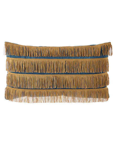 Emporium Oblong Pillow with Gold Fringe
