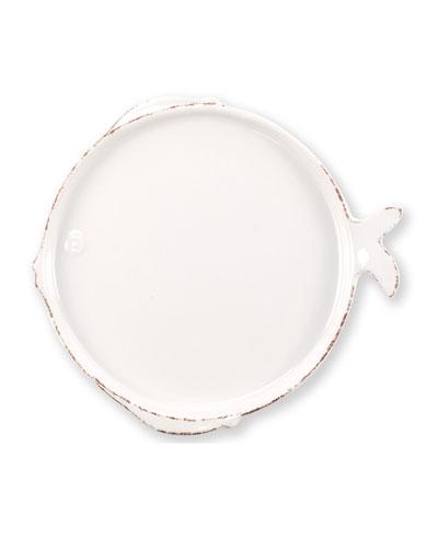 Melamine Lastra Fish Salad Plate  White