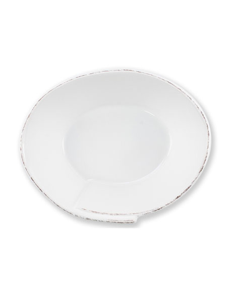 Lastra Small Oval Bowl, White