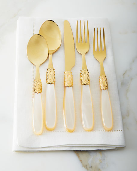 20-Piece Victoria Shine Flatware Set, Gold